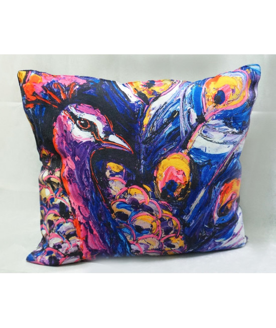 printed square cushion-12 (stuffed with recycled cigarette butts)